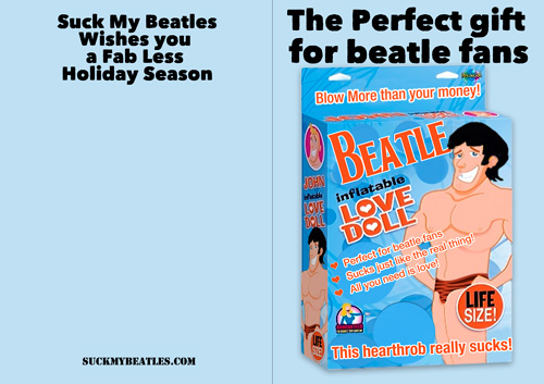 Beatles Suck Christmas Card Inflatable Love Doll