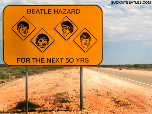 beatle Highway sign, warning beatle hazard